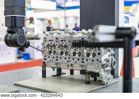 Automatic Coordinate Measurement Machine (cmm) During Inspection Automotive Industrial Part In Quali