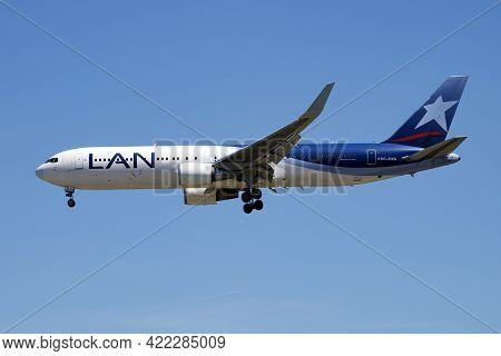 Madrid, Spain - May 2, 2016: Latam Lan Airlines Passenger Plane At Airport. Schedule Flight Travel.