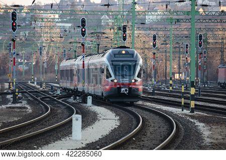 Budapest, Hungary - February 28, 2021: Mav Hungarian Railways Passenger Train With Stadler Flirt 415