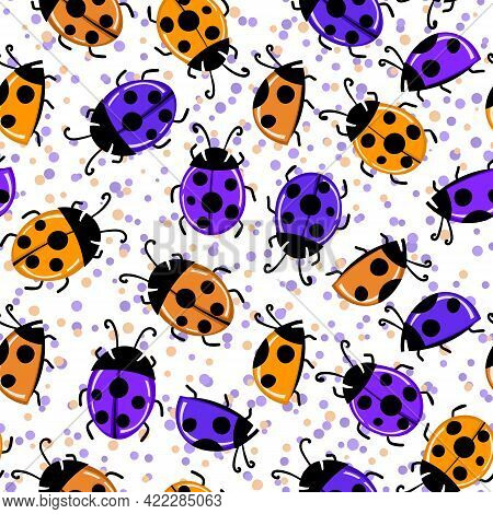 Fashion Animal Seamless Pattern With Colorful Ladybird On White Background. Cute Holiday Illustratio