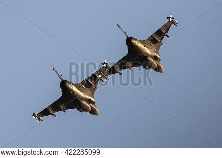 Szolnok / Hungary - August 20, 2019: Hungarian Air Force Saab Jas-39c Gripen Fighter Jet Pair Passin