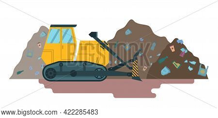 Cartoon Color Bulldozer For Garbage Cleaning. Vector