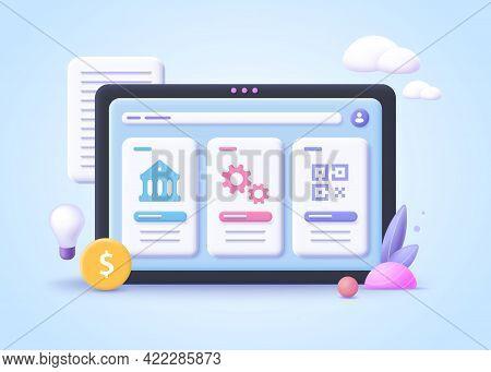 Concept Of Bank Identifier Code. 3d Vector Illustration.