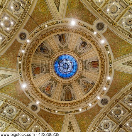 San Jose, California - May 30, 2021: Interior Of The Large Dome At  The Cathedral Basilica Of St. Jo