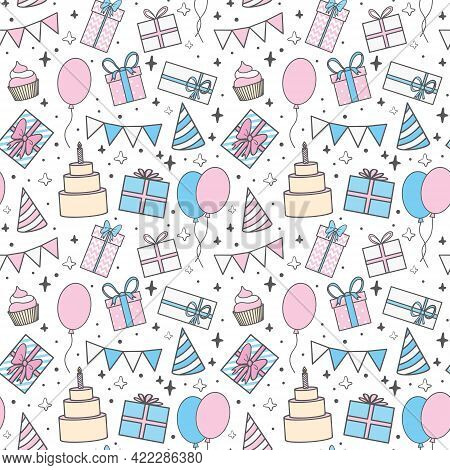Birthday Background With Balloons And Gifts, Design Element.