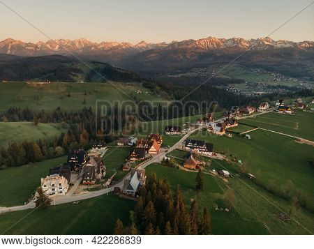 Drone View On Sunset Mountains Tatry, Poland
