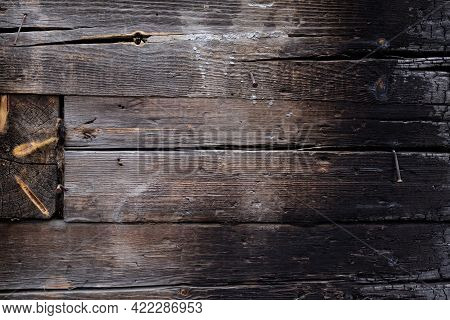 Texture Partially Burnt Wood. Charred Board, Firewood,