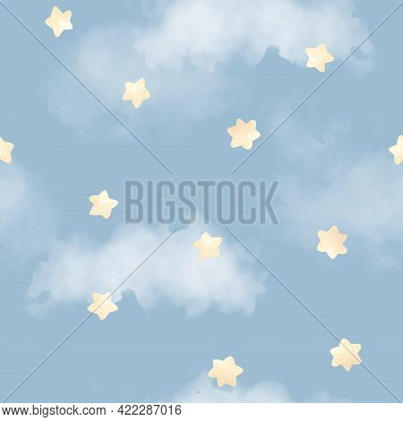 Seamless Pattern. Starry Sky. For Digital Printing