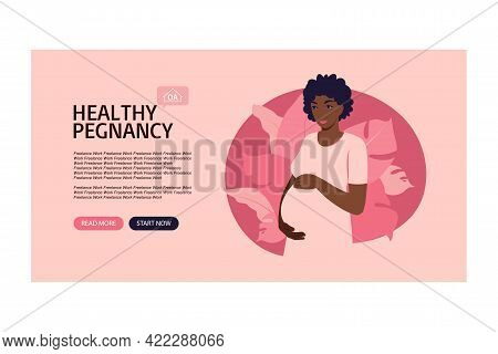 Website Banner Pregnancy And Motherhood. Help For Expectant Mothers In Process Pregnancy. Vector Ill
