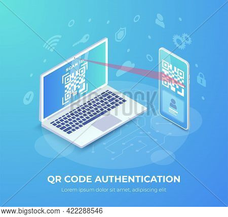 Qr Code Mobile Authentication Isometric Concept. Qr Code On Laptop Screen, Laptop Scanning Barcode O