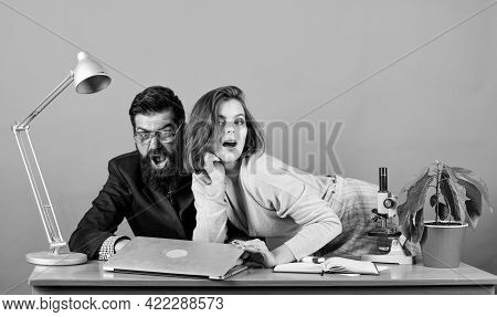 Corporate Ethics. Businessman And Assistant. Business Couple At Computer. Love Affair At Work. Seduc