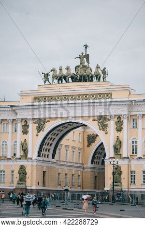 Saint-petersburg, Russia, 04 August 2020: Monument Chariot Of Glory On The Arch Of The General Staff