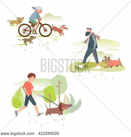 A Set Of Illustrations Of Characters With Dogs. A Boy On A Bicycle Surrounded By Dogs, A Man Walking