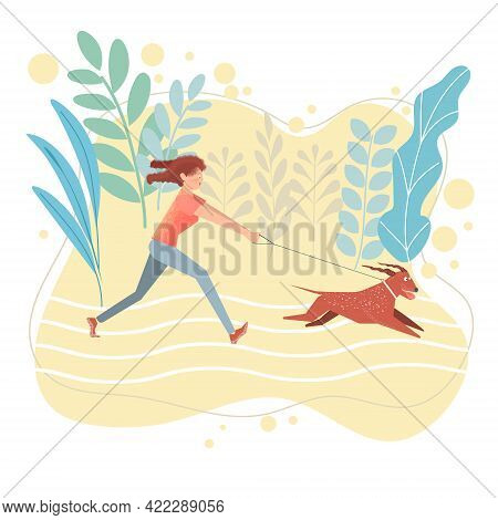 The Girl Quickly Runs After Her Dog. An Active Dog Pulls The Girl By The Leash. Cartoon Illustration