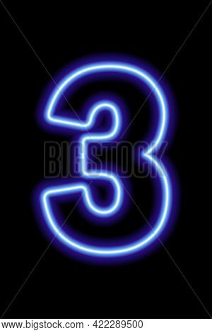 Neon Blue Number 3 On Black Background. Learning Numbers, Serial Number, Price, Place.