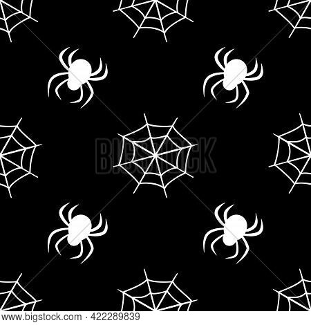 Cute Seamless Pattern With White Cobwebs And Spiders On A Black Background. Halloween Party Decorati