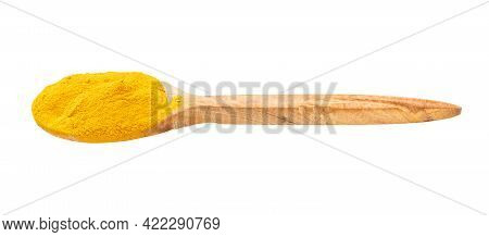 Wooden Spoon With Curcuma (turmeric) Powder Isolated On White Background