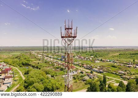Telecom Tower Witn 4g Network, Telecomunication Base Station. 5g Antenna Witn 5g Technology In Rural