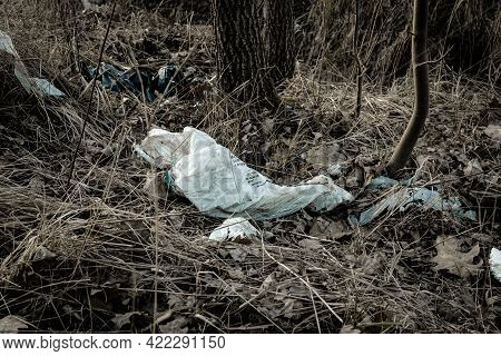 Environment And Plastic Garbage In Woodland. Rubbish Trash, Waste In Forest. Ecological Problem With