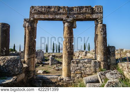 Close View On Ancient Columns & Its Elements In Antique City Hierapolis, Pamukkale, Turkey. Located