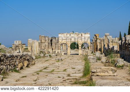 Panoramic View Onto Frontinus Street Of Antique City Hierapolis, Pamukkale, Turkey. There Are Monume