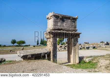 Antique Sarcophagus Placed On Stone Structure, Similar To Gate. It's Very Classic Coffin For Nobles