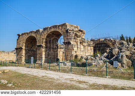 Antique Basilica Near Necropolis Of Antique City Hierapolis, Pamukkale, Turkey. Building Was Used As