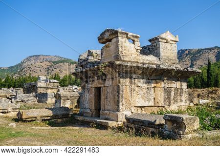 Ancient Crypt Of Some Noble Family From Antique City Hierapolis, Pamukkale, Turkey. Some Sarcophagus