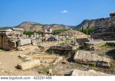 Antique Crypts & Remains Of Burial Plates In Necropolis In Antique City Hierapolis, Pamukkale, Turke