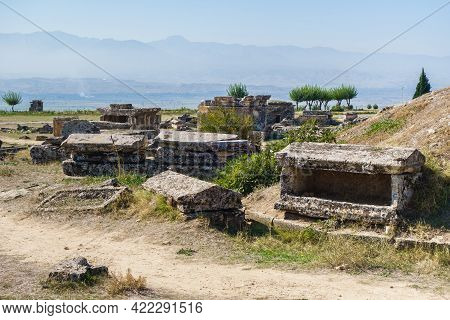Remains Of Crypts & Sarcophagus In Necropolis Of Hierapolis, Antique City Near Pamukkale, Turkey. So