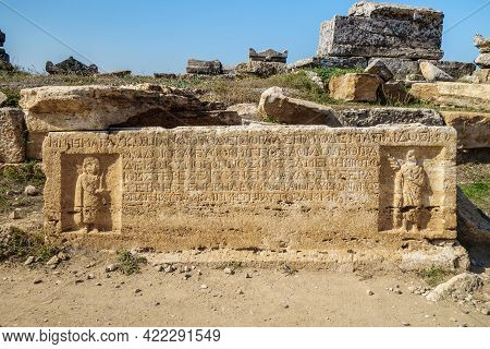 Burial Plate From Antique Sarcophagus In Hierapolis, Ancient City Near Pamukkale, Turkey. There Are
