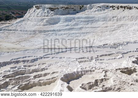 Panorama Of Travertine Pool Of Pamukkale, Turkey. Terraces Formed During Centuries By Waters Of Hot
