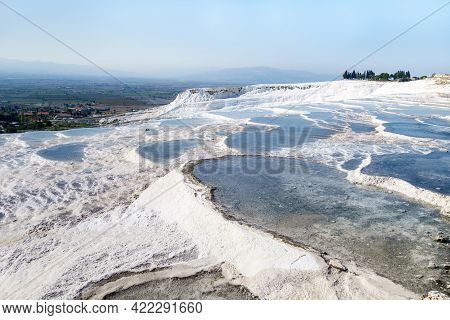 Panoramic View Onto Travertine Terraces Of Pamukkale, Turkey. All Pools Filled With Mineral Water Fr
