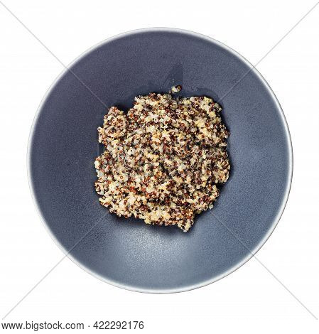 Top View Of Boiled Porridge From Blend Of Quinoa Grains In Gray Bowl Isolated On White Background