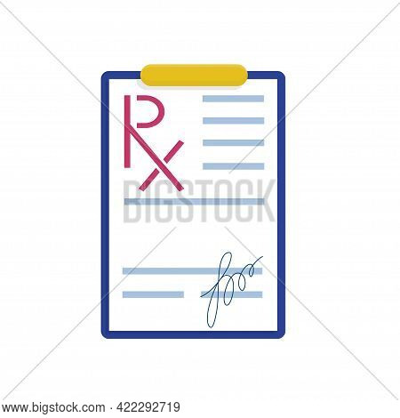 Rx Form, Blank With The Doctors Signature. Vector Illustration In Flat Style. A Form For Prescribing