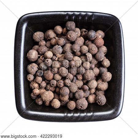Top View Of Allspice Jamaica Pepper In Black Bowl Isolated On White Background