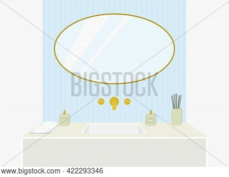 Vector Illustration Of A Bathroom, Washbasin With Gold Taps, A Mirror On A Blue Wall.