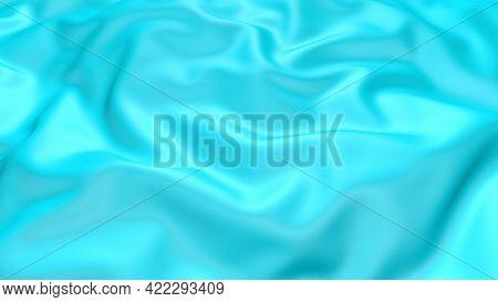 3d Render Beautiful Folds Of Light Blue Silk In Full Screen, Like A Beautiful Clean Fabric Backgroun