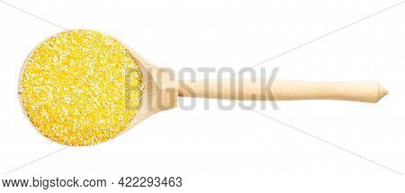 Top View Of Wood Spoon With Uncooked Coarse Maize Cornmeal Isolated On White Background