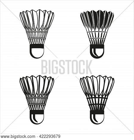 Simple Badminton Shuttlecock Icon Set. Vector Graphic Illustration In White Background. Suitable For
