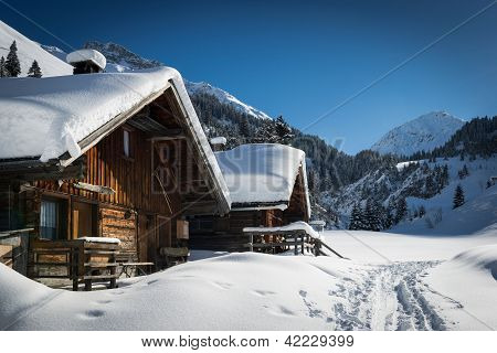 wooden houses on lechtal mountains