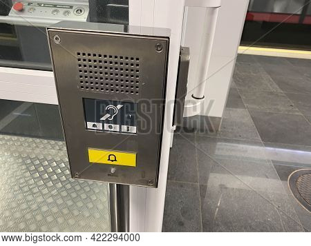 Large Call Button For An Inclusive Elevator In The Subway Or Shopping Center For People With Disabil