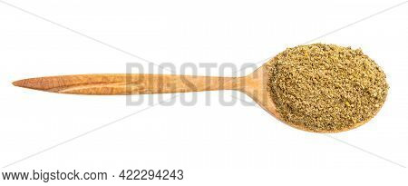Top View Of Wood Spoon With Georgian Khmeli Suneli Flavoring Isolated On White Background