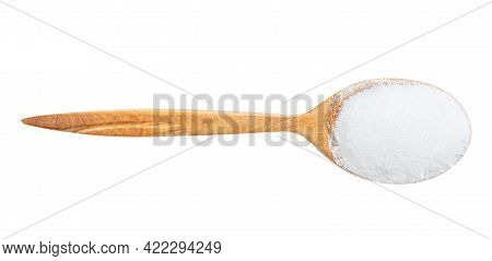 Top View Of Wood Spoon With Glutamate Flavoring Isolated On White Background