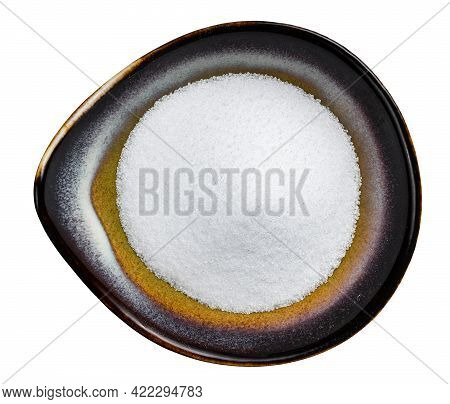 Top View Of Sugar Substitute - Crystalline Extract Of Stevia Plant In Ceramic Bowl Isolated On White