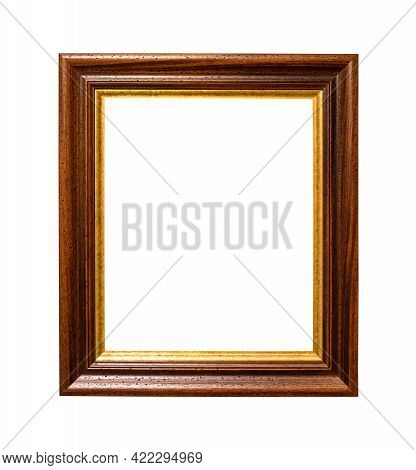 Old Wide Dark Brown Wooden Picture Frame With Cut Out Canvas Isolated On White Background