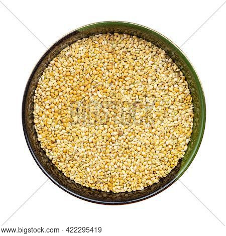 Top View Of Whole-grain Foxtail Millet Seeds In Round Bowl Isolated On White Background