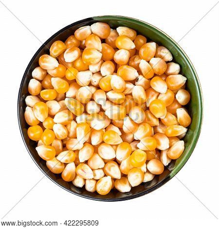 Top View Of Raw Maize Corns In Round Bowl Isolated On White Background