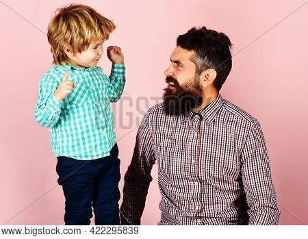 Happy Family. Fathers Day Celebration. Father And Son In Checkered Shirts Looking At Each Other. Par