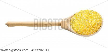 Wooden Spoon With Uncooked Coarse Maize Cornmeal Isolated On White Background
